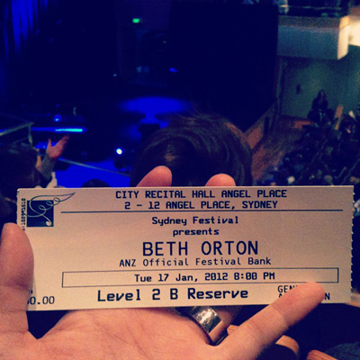 Beth Orton City Recital Hall Sydney